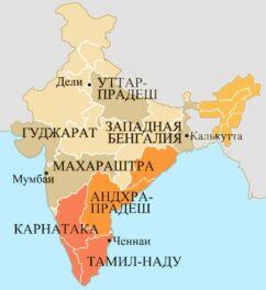 Карта распространения кофейных плантаций в Индии